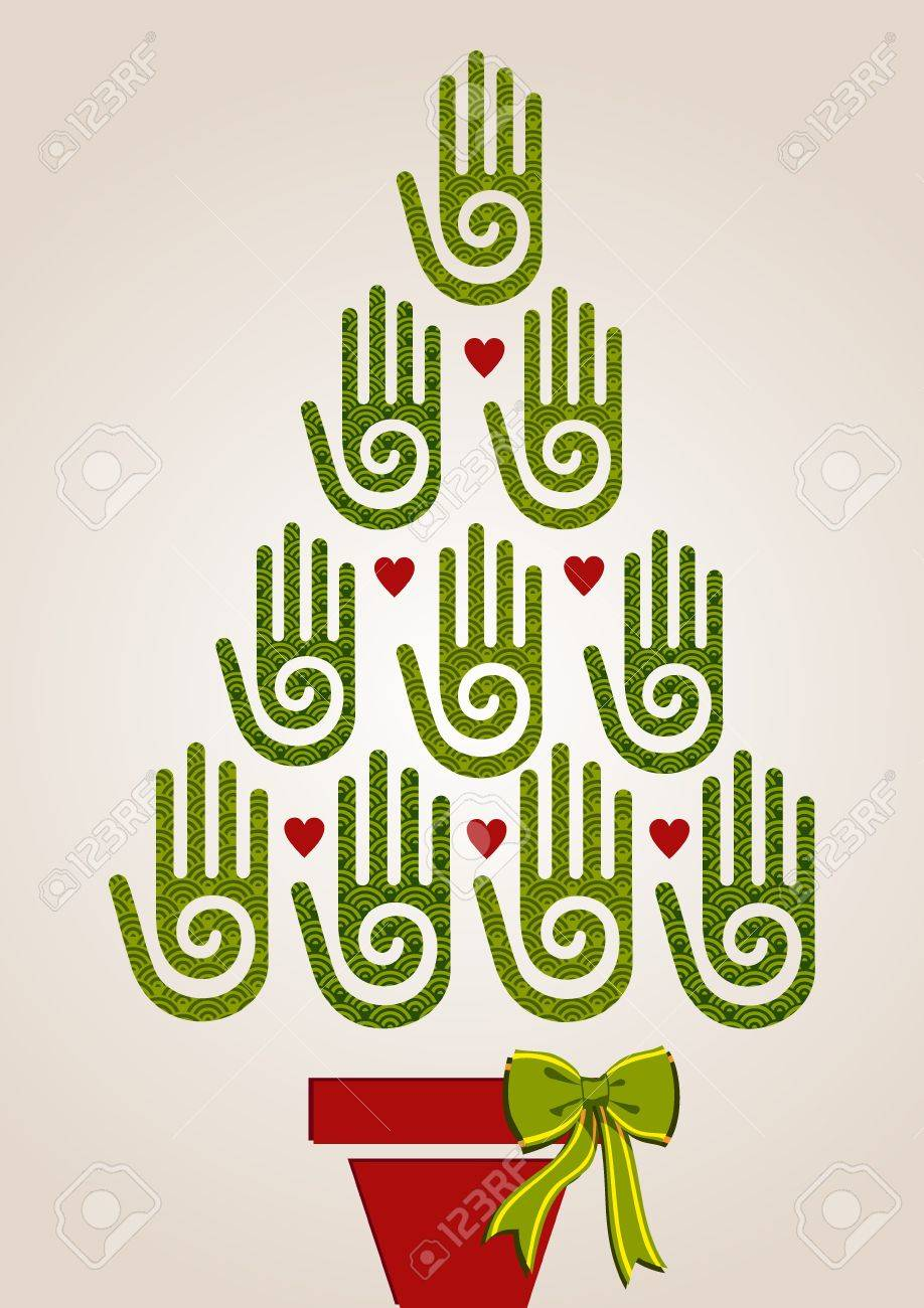Eco Friendly Christmas Tree Hands Greeting Card Royalty Free ...