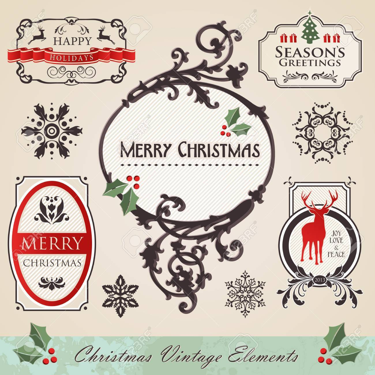 Jugendstil Vintage Christmas Season Rahmenelemente Set Vektor ...