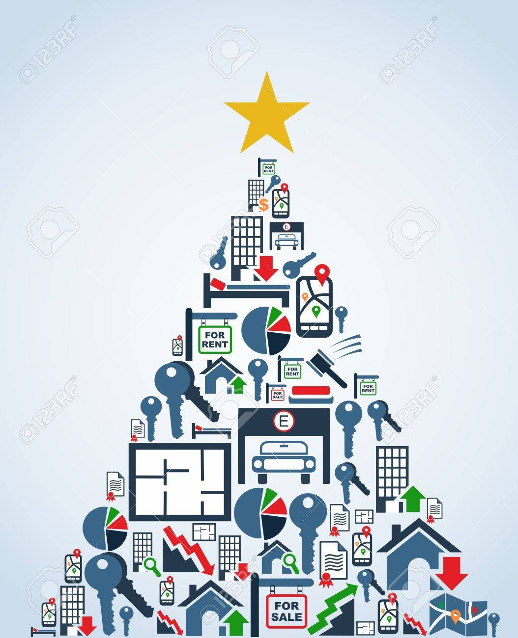 Real estate icon set in christmas tree greeting card vector real estate icon set in christmas tree greeting card vector illustration layered for easy manipulation m4hsunfo