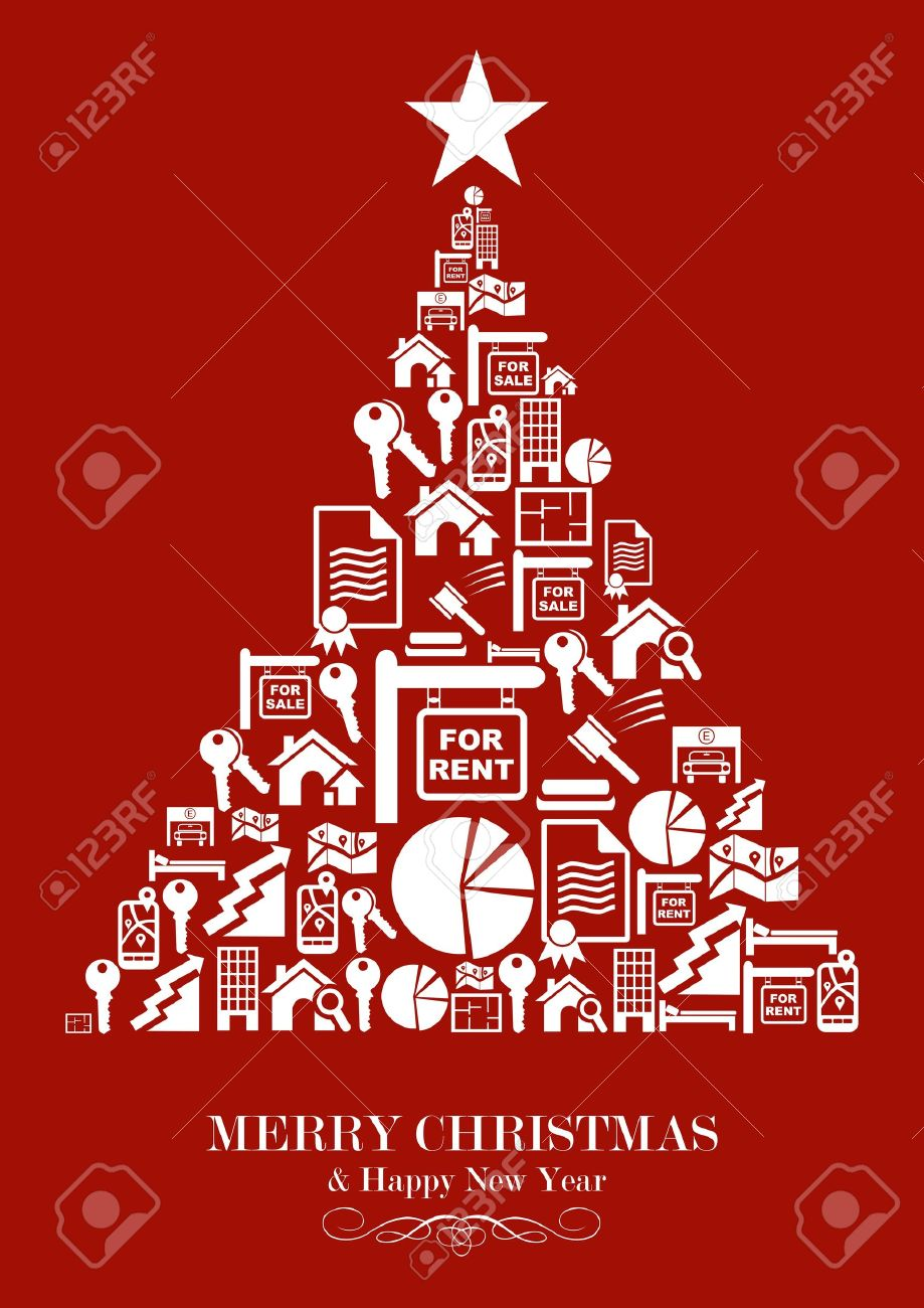 Real Estate Icon Set In Christmas Tree Greeting Card. Vector ...