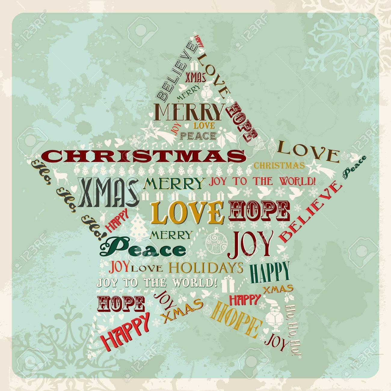 Weinlese-frohe Weihnachten Konzept Worte In Sternform. Vektor ...