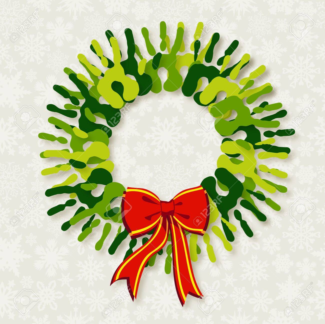Go green diversity hands in Christmas wreath.  file with a drop shadow effect in multiply mode at 75% level. This shadow is in the corresponding element and included as style. Stock Vector - 16572007