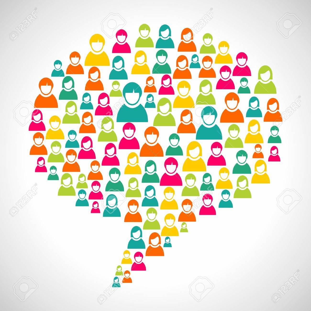 Online-Marketing: Vielfalt Menschen Profil In Sozialen Sprechblase ...
