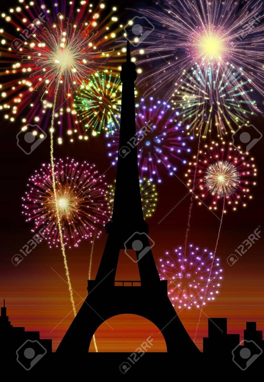 fireworks happy new year paris city night tour eiffel scene stock photo 16755914