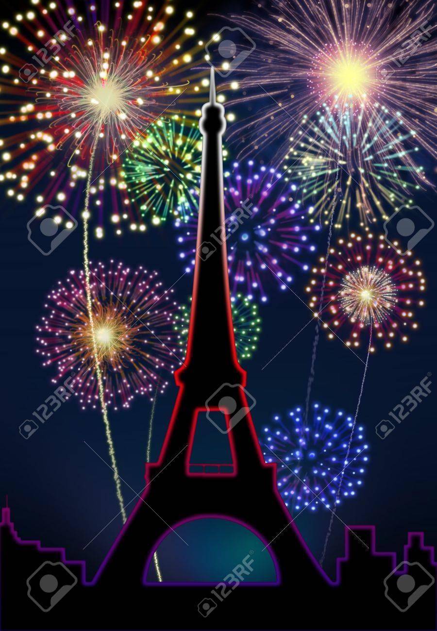 fireworks happy new year paris city night tour eiffel scene stock photo 16755911