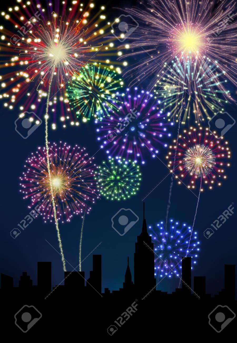 Fireworks happy New year siluette city night scene Stock Photo - 16755909