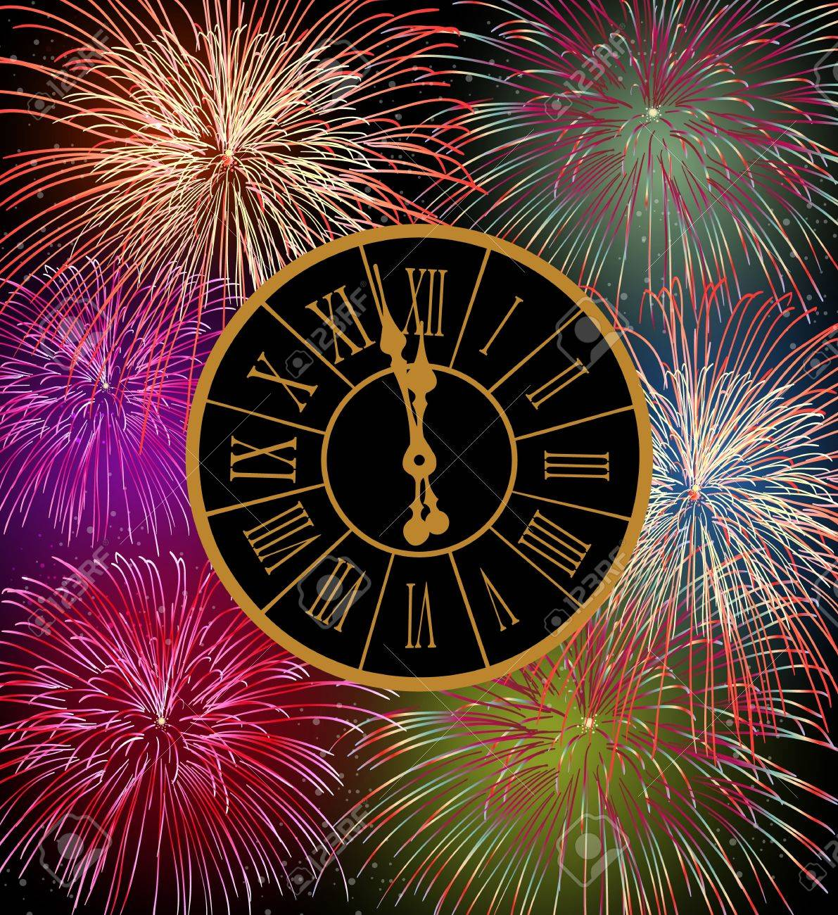 happy new year fireworks eve night time with clock with transparencies layered for easy manipulation and