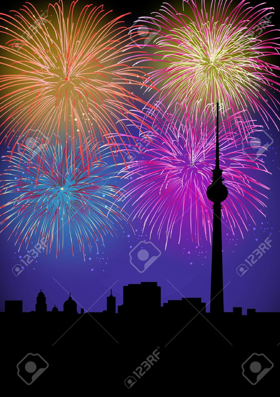 Happy New Year fiireworks Berlin city night TV tower silhouette scene with transparencies layered for easy manipulation and customisation Stock Vector - 16808633