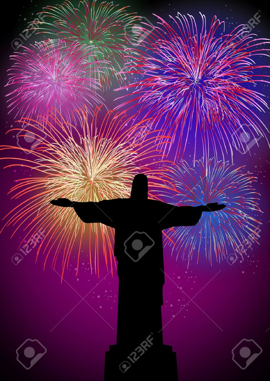 Happy New Year fireworks Rio de janeiro city with christ the redeemer silhouette night scene with transparencies  layered for easy manipulation and customisation Stock Vector - 16808614