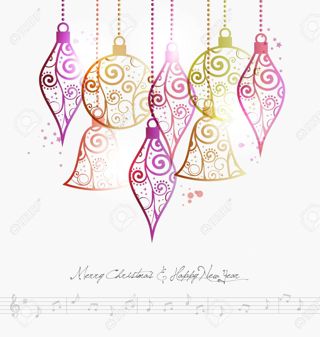 Contemporary Merry Christmas Baubles And Music Note Background ...