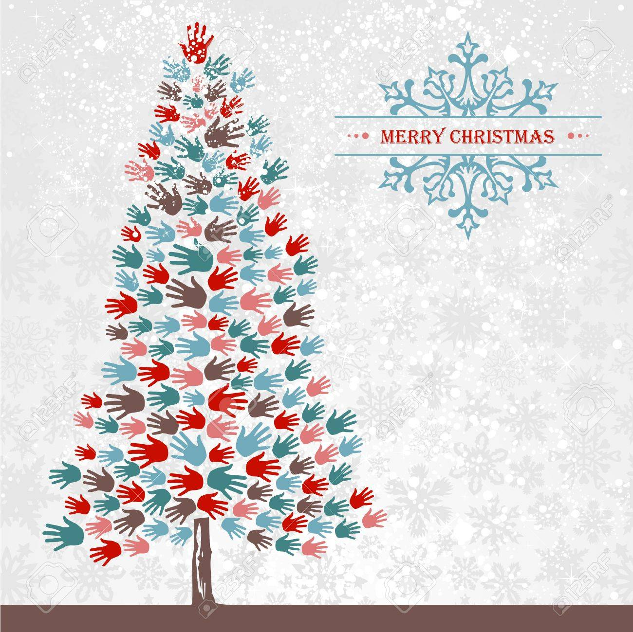 Diversity Christmas Tree Hands Background For Greeting Card ...