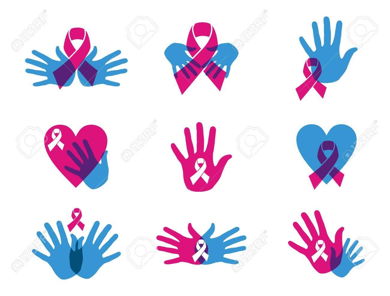 Breast Cancer Awareness Ribbon Transparency Symbol Set File