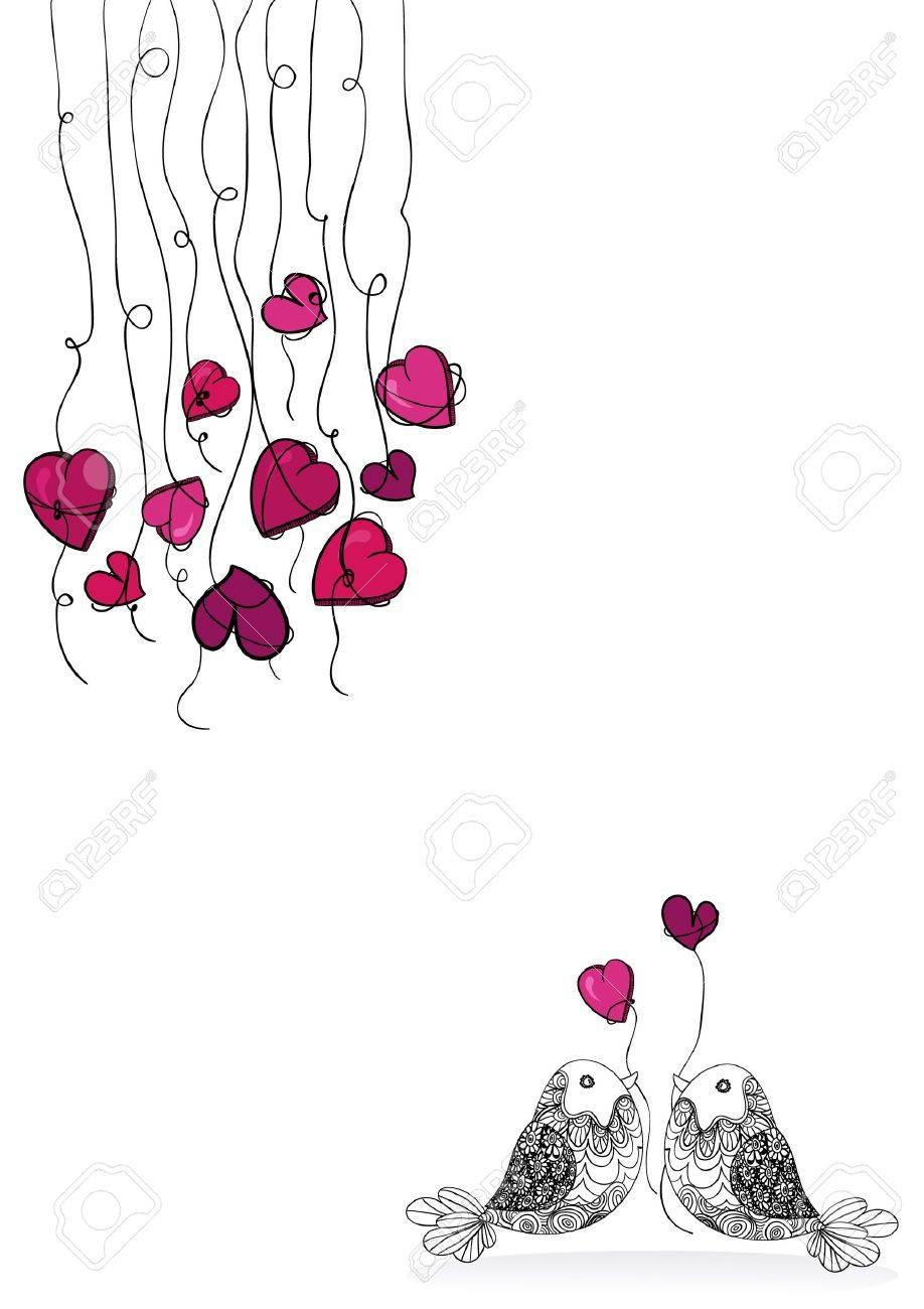 バレンタインの日春のカップル鳥の白で分離された愛.ベクトル イラストを簡単に操作およびカスタム着色層し