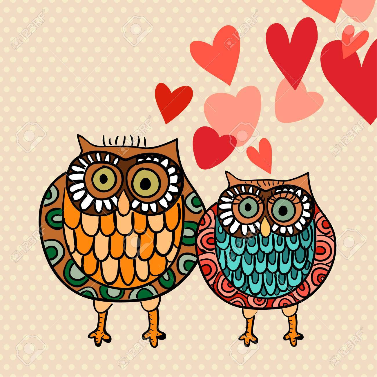 Valentine Day Lovely Owls Greeting Card Vector Illustration