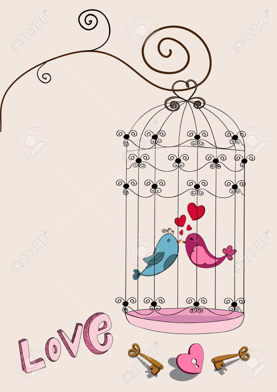 バレンタインの日の自由鳥愛背景ベクトル イラストを簡単に操作および