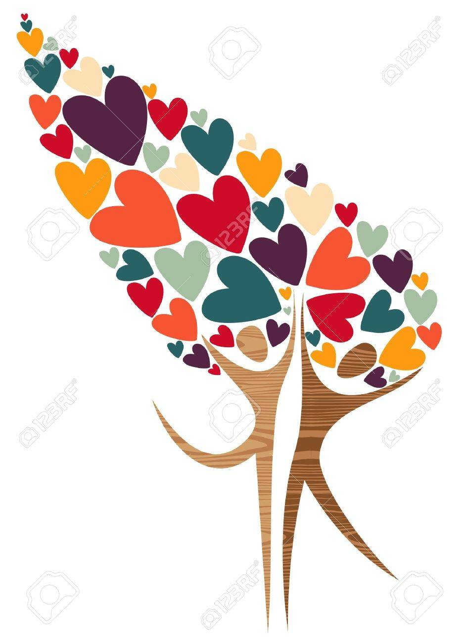 Expressive diversity tree of love isolated over white. illustration layered for easy manipulation and coloring. Stock Vector - 17876821