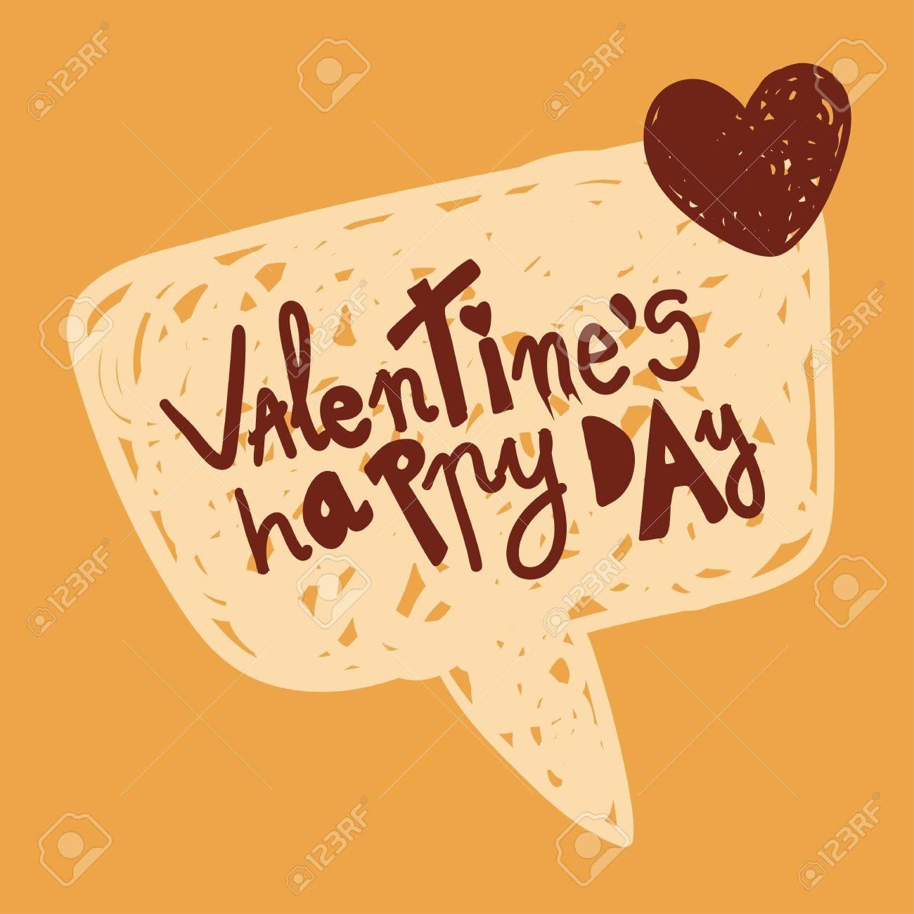 Happy Valentines Liebe Nachricht In Handgezeichnete Sprechblase ...