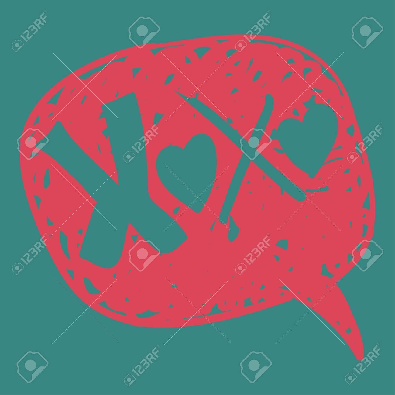 Valentines Liebe Nachricht In Handgezeichnete Sprechblase ...