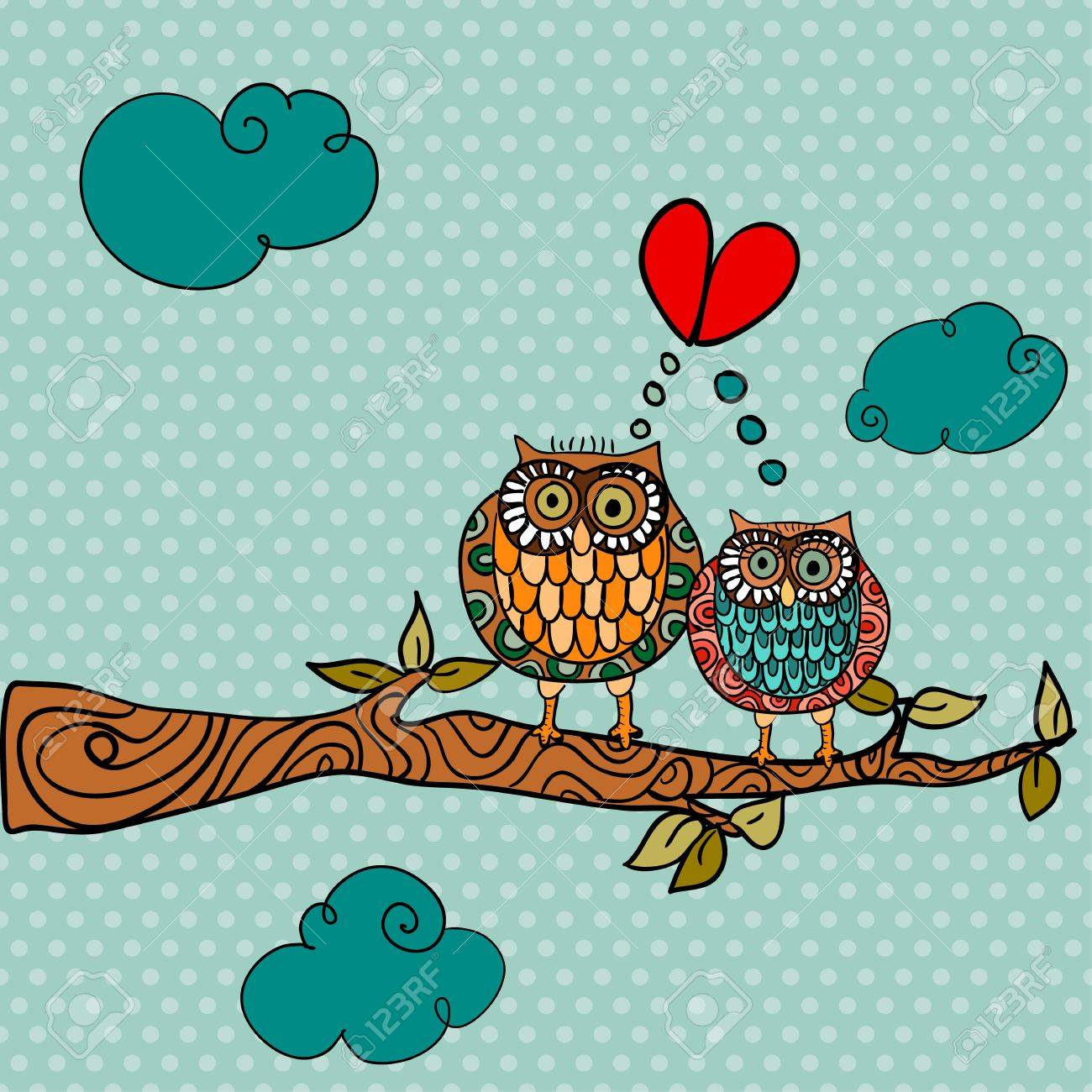 Valentine day owl couple in love greeting card background. Vector illustration layered for easy manipulation and custom coloring. Stock Vector - 17878175