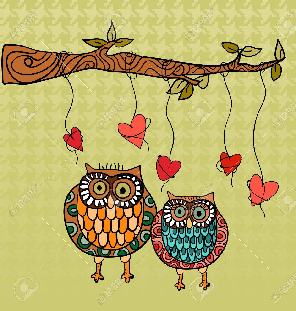 Valentine day owls couple love greeting card. Vector illustration layered for easy manipulation and custom coloring. Stock Vector - 17878157