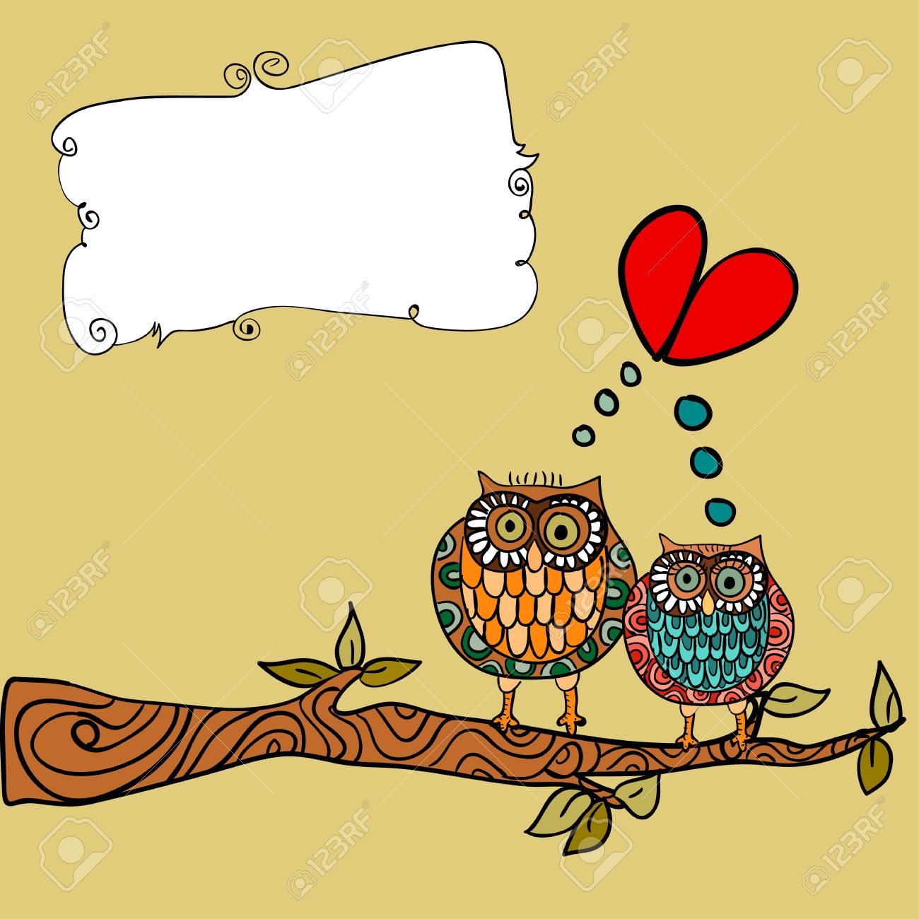 Valentine day lovely owls couple in tree branch greeting card background. Vector illustration layered for easy manipulation and custom coloring. Stock Vector - 17878158