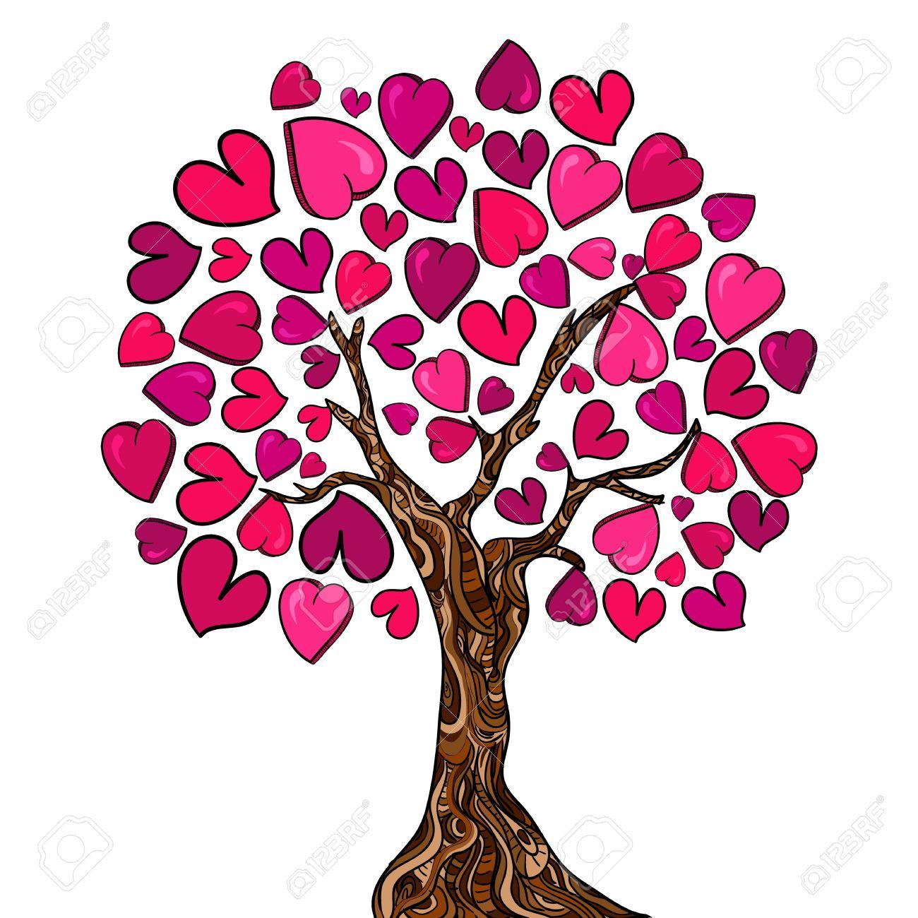 Día De San Valentín A Mano árbol De Amor Hecho De Corazones ...
