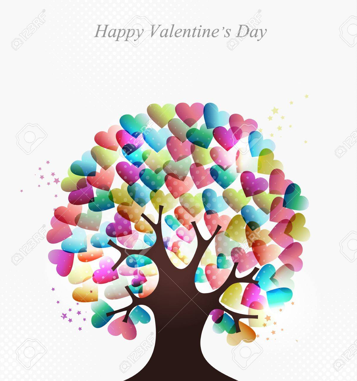 Liebe Transparenten Herzen Konzept Baum Für Valentines Tag. EPS10 ...