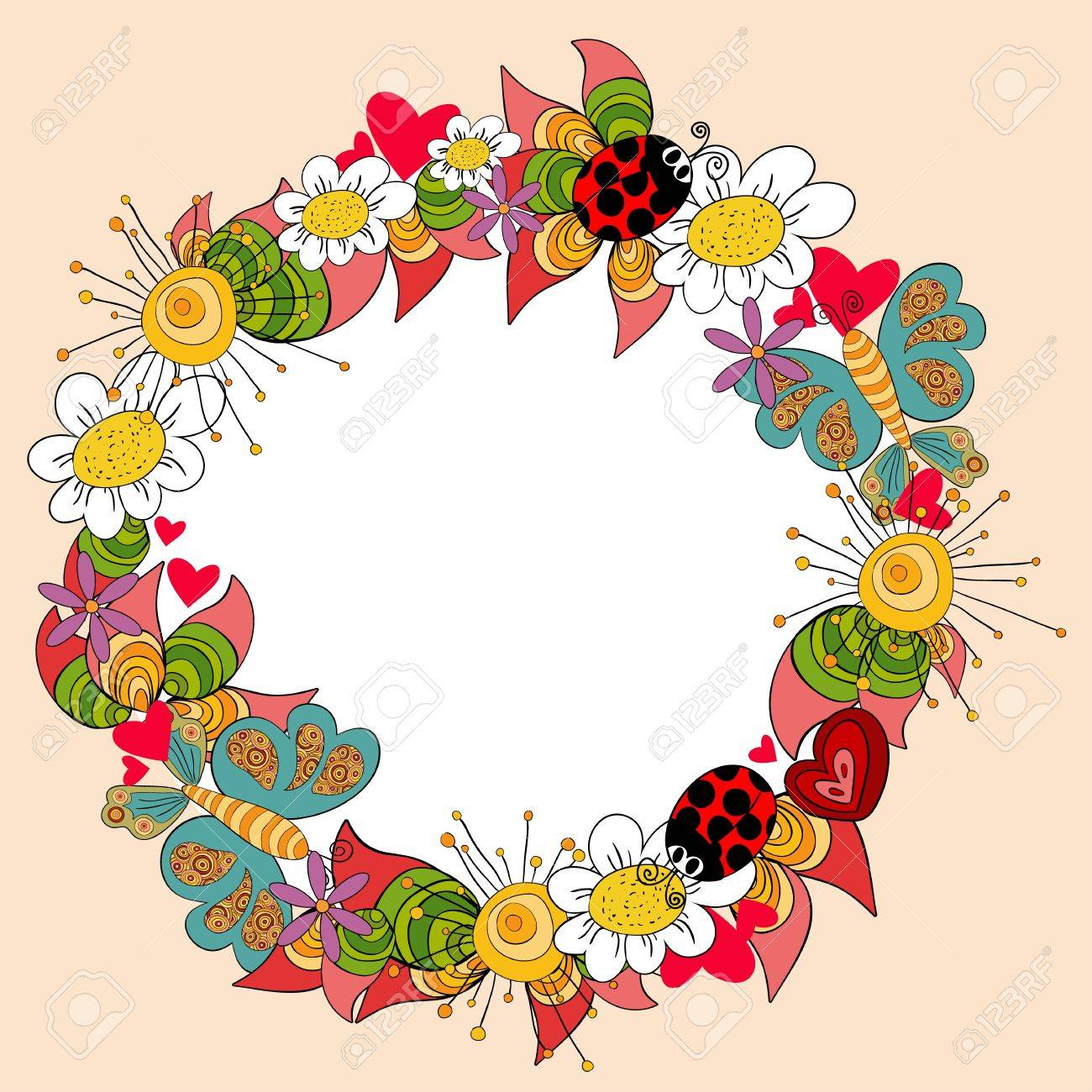 Vibrant colors spring composition with flowers, leaves, butterfly and beetle. Vector file layered for easy manipulation and custom coloring. Stock Vector - 17878323