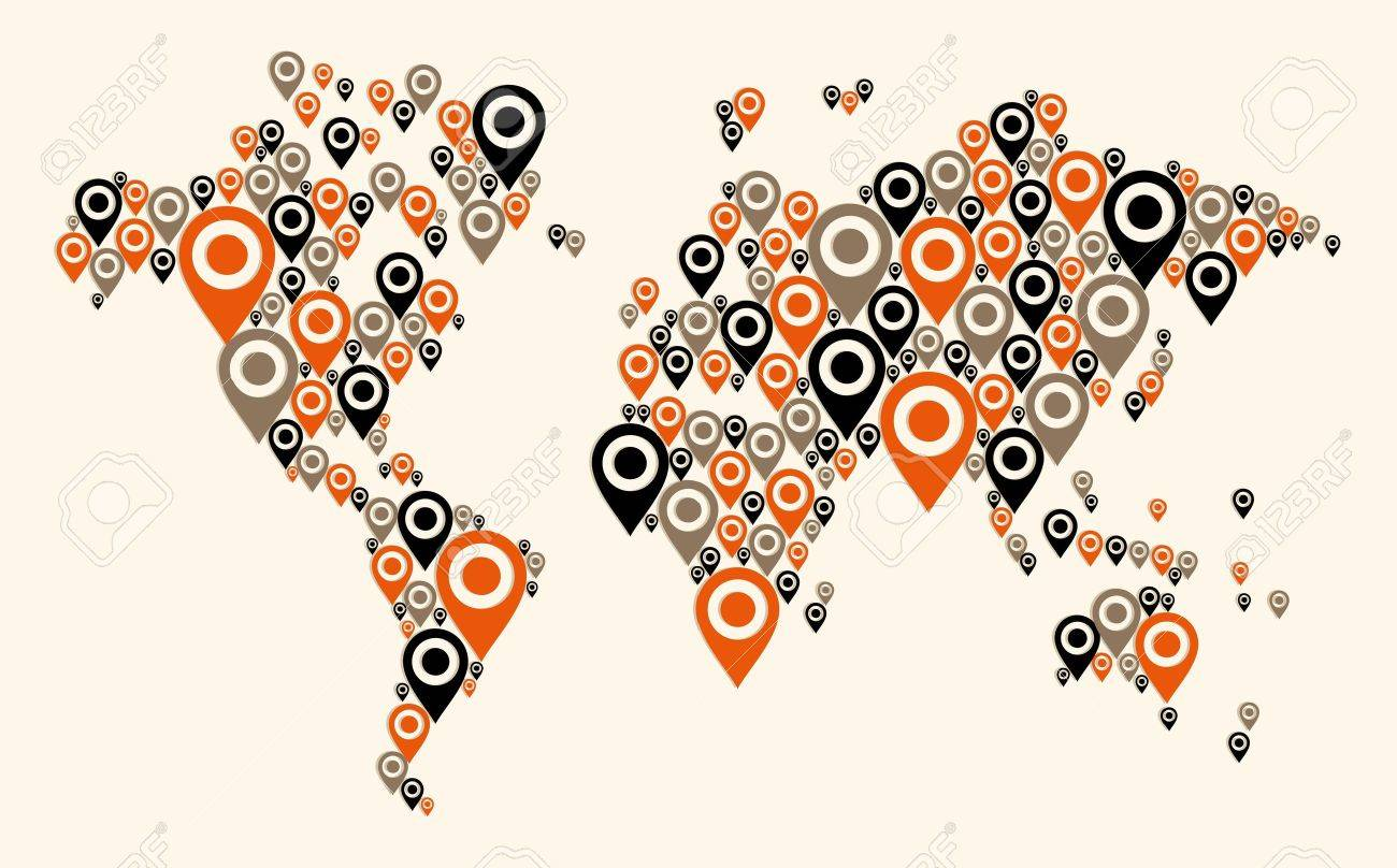 World map gps navigator icon shape file layered for easy world map gps navigator icon shape file layered for easy manipulation and custom coloring gumiabroncs Choice Image