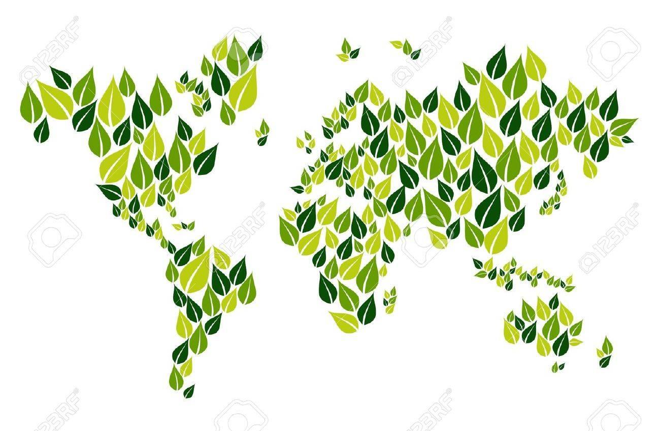 Grüne Blätter In Der Welt Zeichnen Form Auf Weißem Isoliert. Vector ...