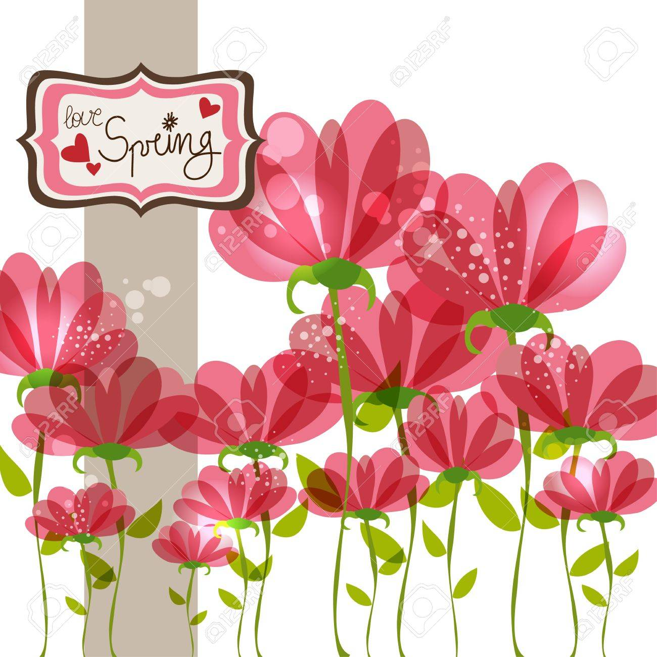 Love in Spring time contemporary transparent flowers background. EPS10 file version. This illustration contains transparencies and is layered for easy manipulation and customization. Stock Vector - 17878414