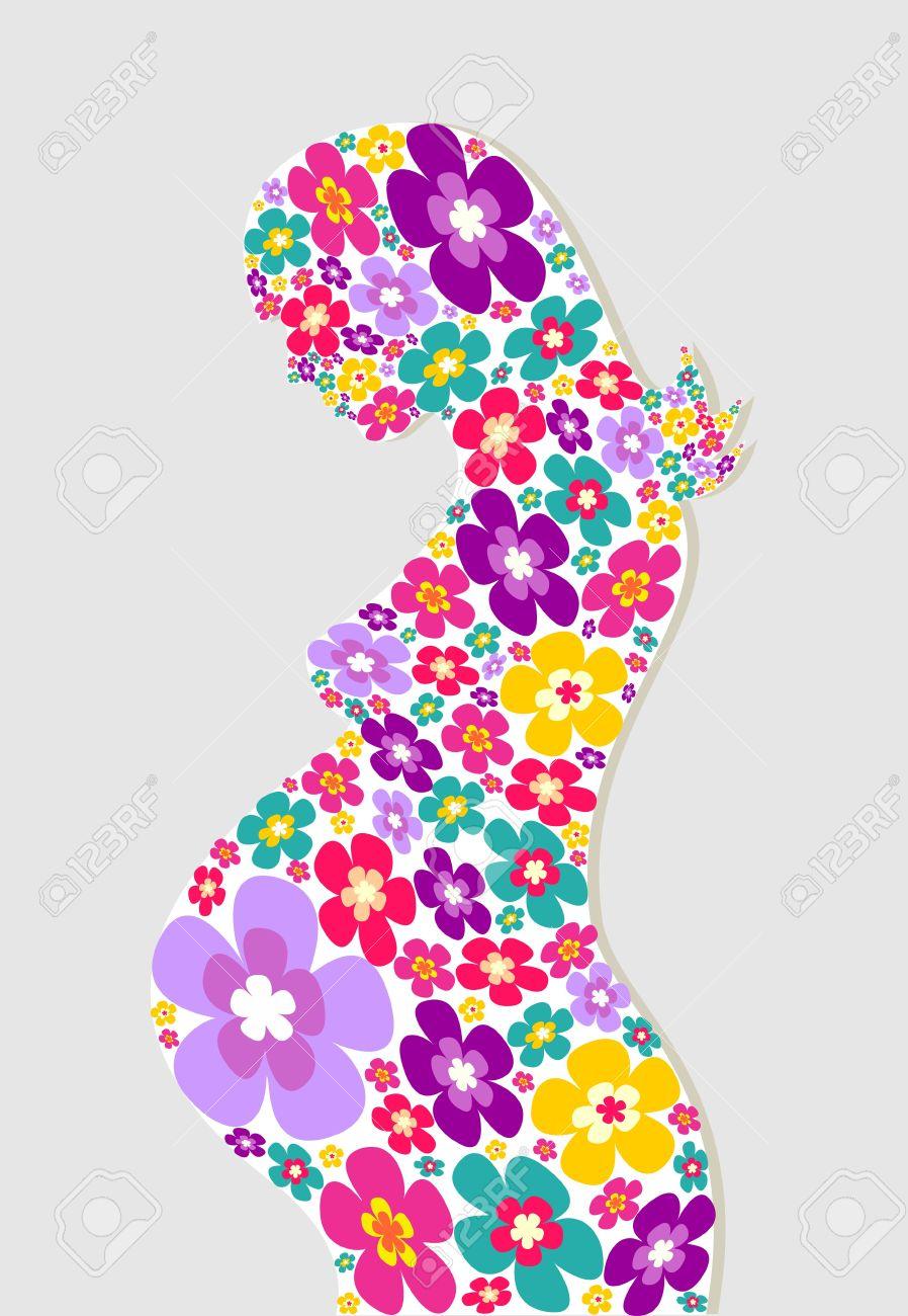 femme enceinte avec des fleurs silhouette arrire plan fichier vectoriel couches pour - Coloration Pour Femme Enceinte