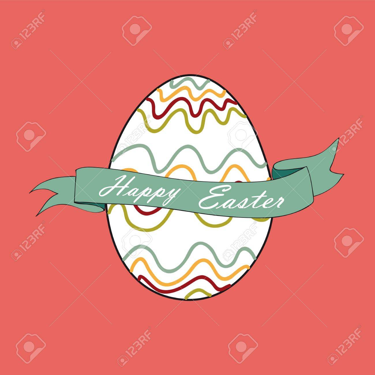 Single happy Easter egg greeting card background.  file layered for easy manipulation and customisation. Stock Vector - 18221158