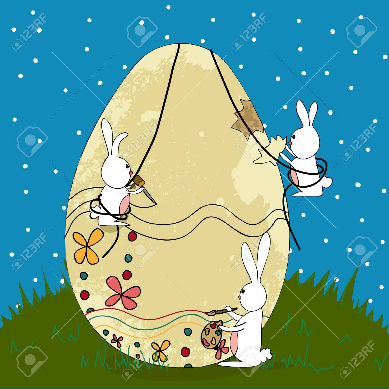 Decorative Easter egg under construction by bunnies teamwork. illustration layered for easy manipulation and custom coloring. Stock Vector - 18221232