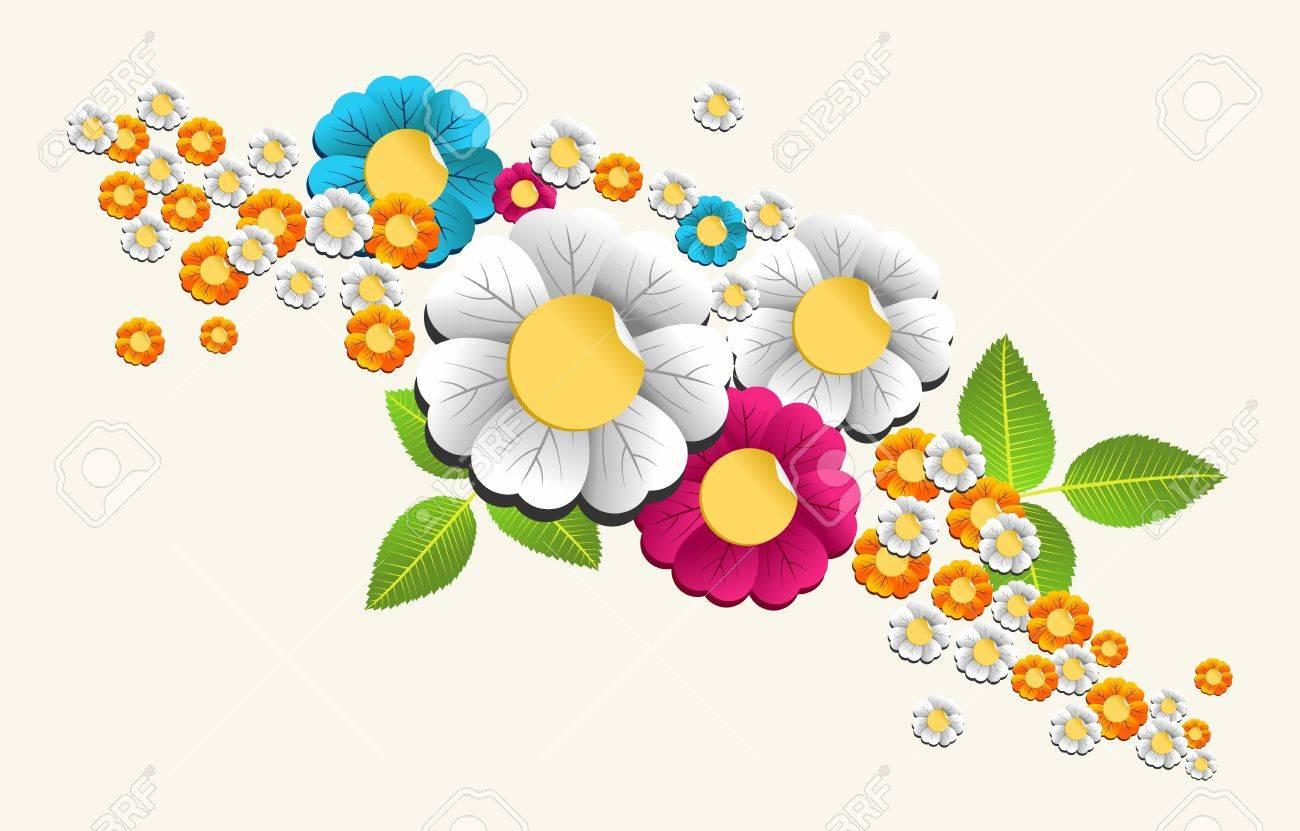 簡単な操作とカスタム彩りに対する階層型春色花カード背景イラスト