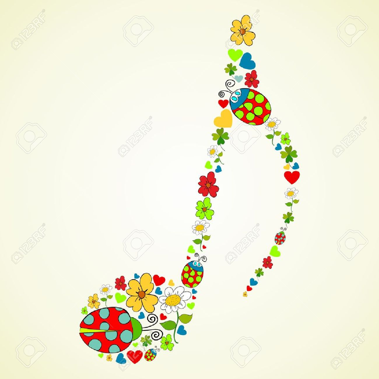 colorful spring icons texture in music note shape composition