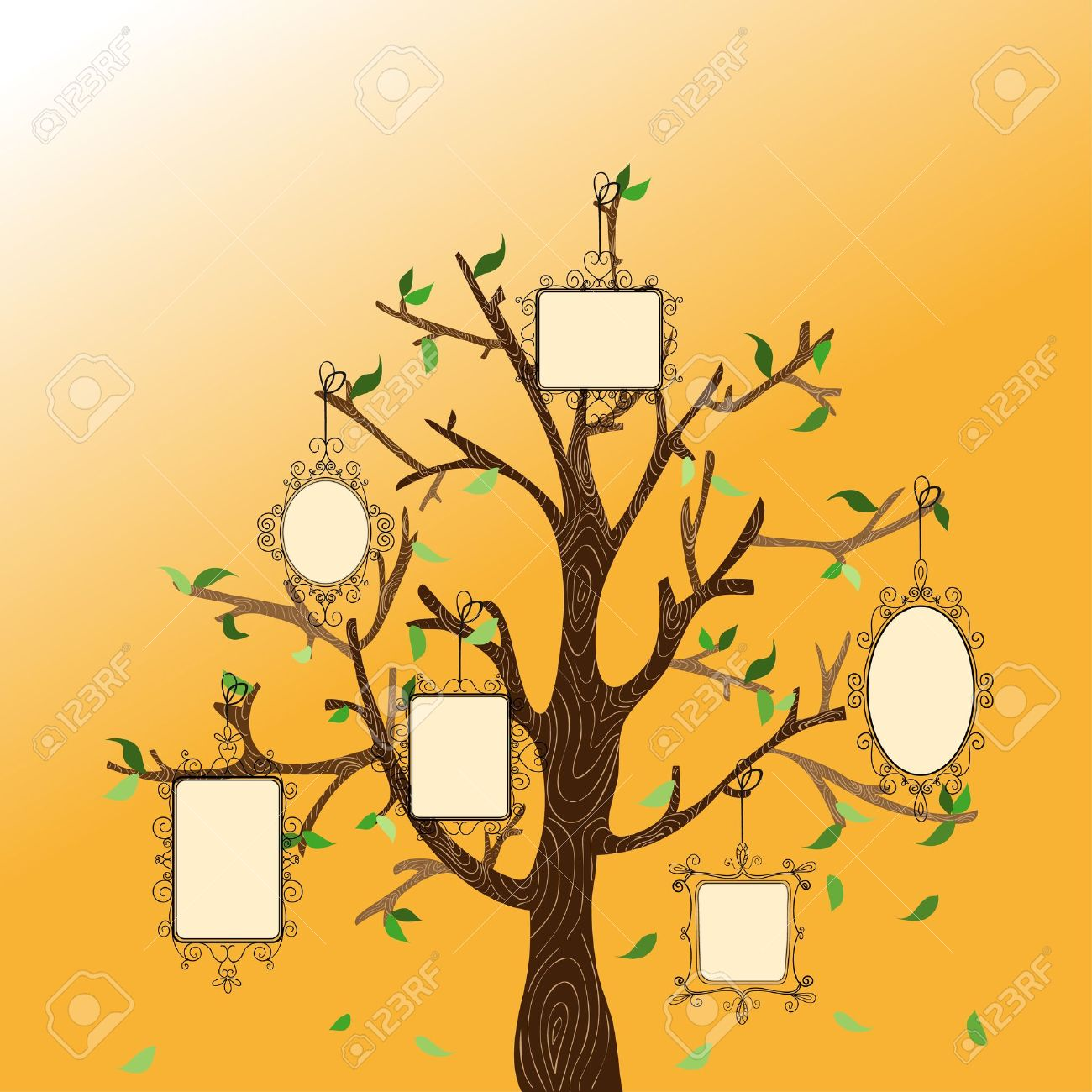 Retro Concept Family Tree With Hanging Photo Frames Leaves Vector