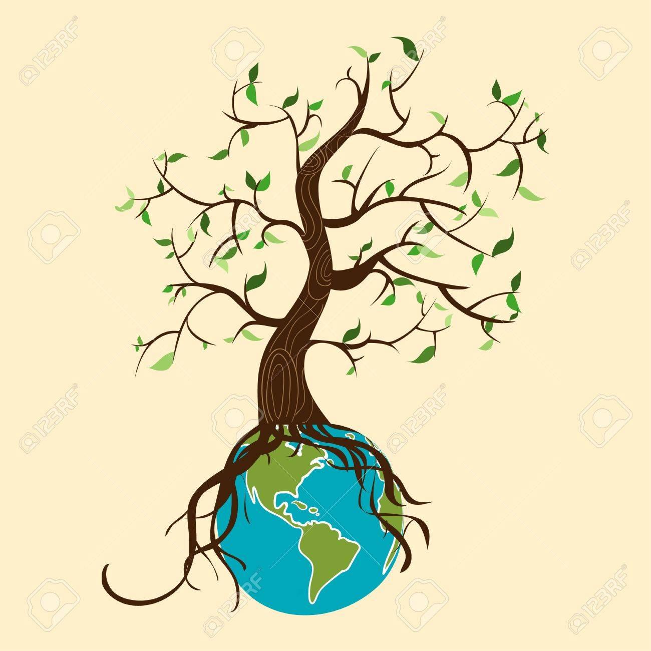 Conceptual árbol Cuidado Del Medio Ambiente En El Planeta Tierra Archivo Vectorial En Capas Para Facilitar La Edición