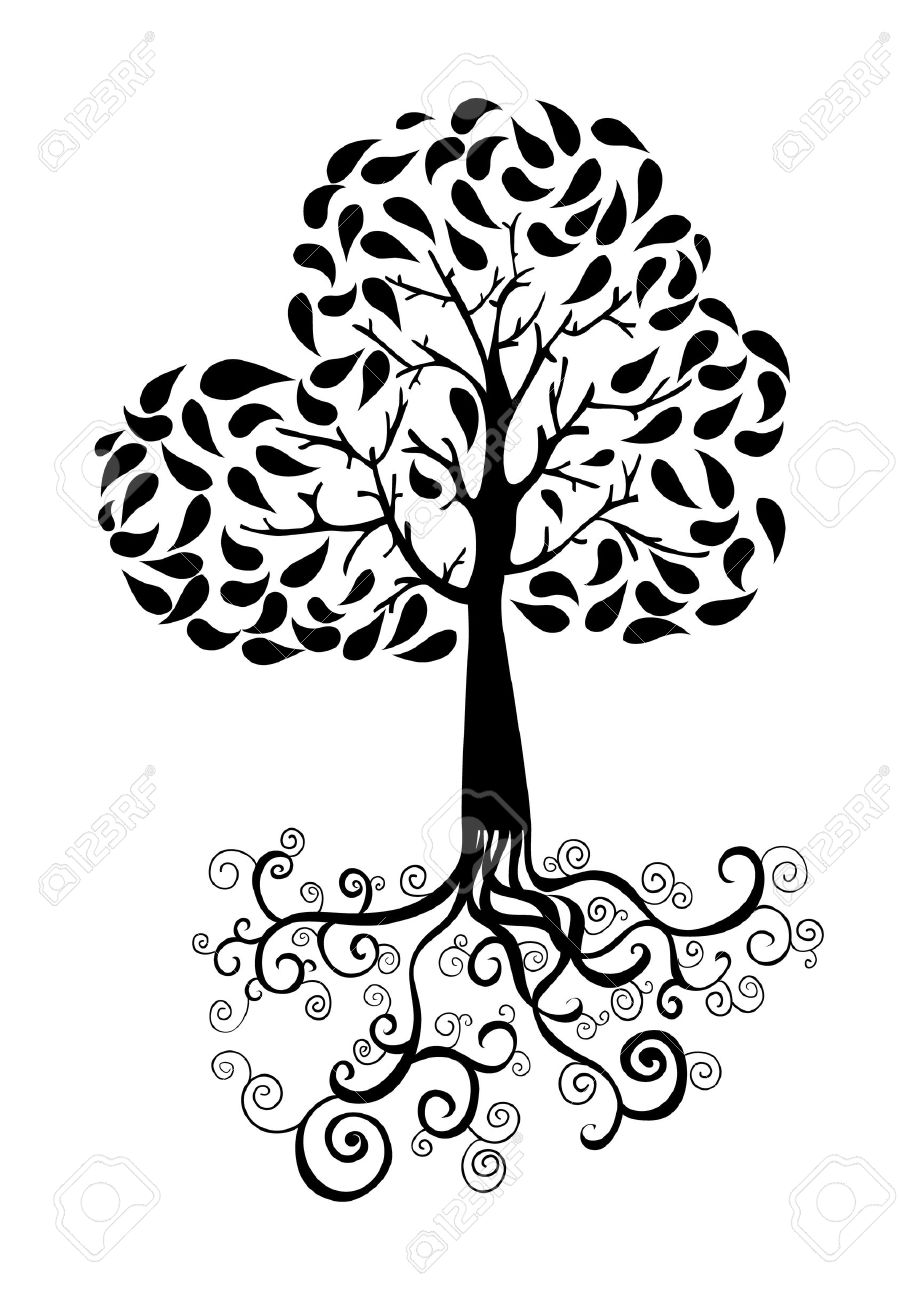 Autumn Tree With Roots And Foliage Silhouette. Vector File Layered ...