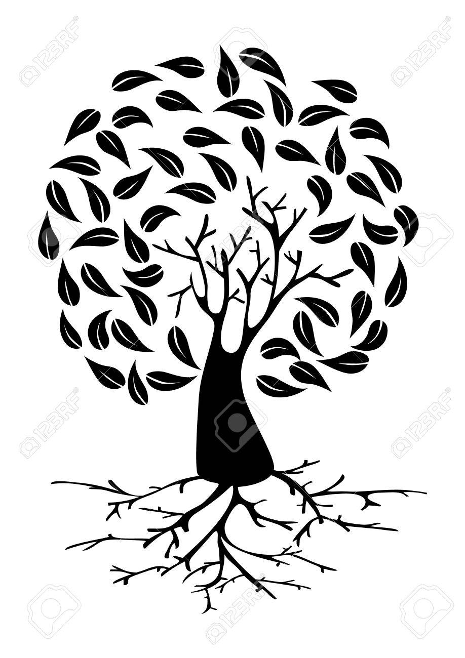 Tree with long roots and circle foliage silhouette. Vector file layered for easy manipulation and custom coloring. Stock Vector - 20602961
