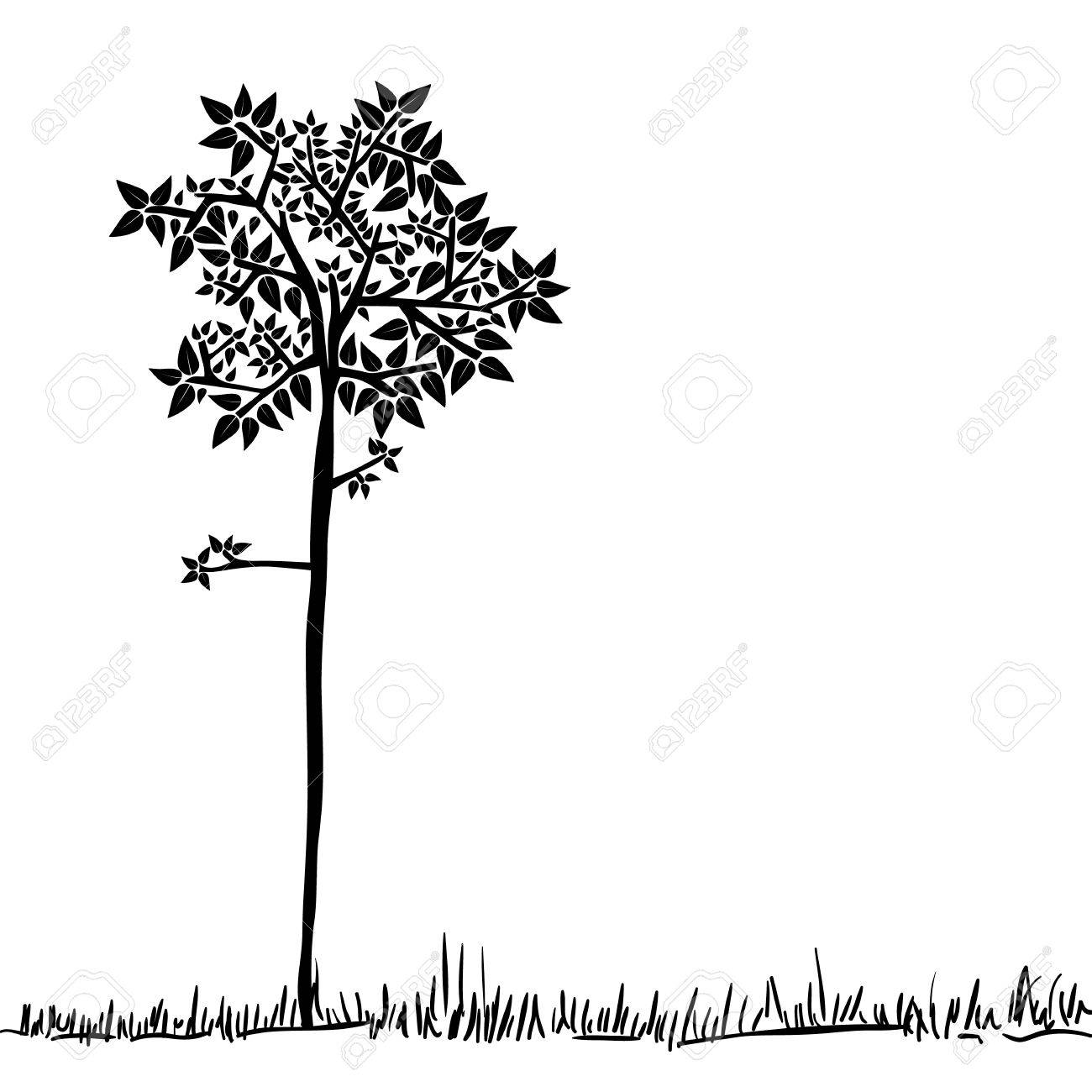 Big tree icon silhouette over isolated background. Vector file layered for easy manipulation and custom coloring. Stock Vector - 20602972