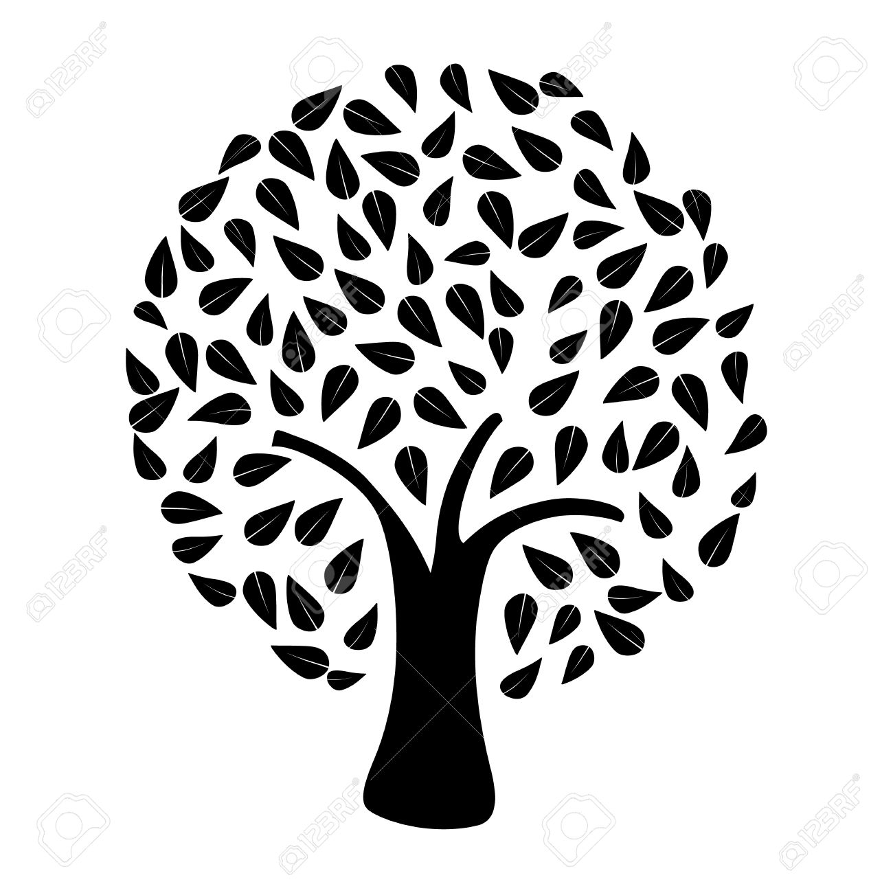 Black tree silhouette on white background . Vector file layered for easy manipulation and custom coloring. Stock Vector - 20602619