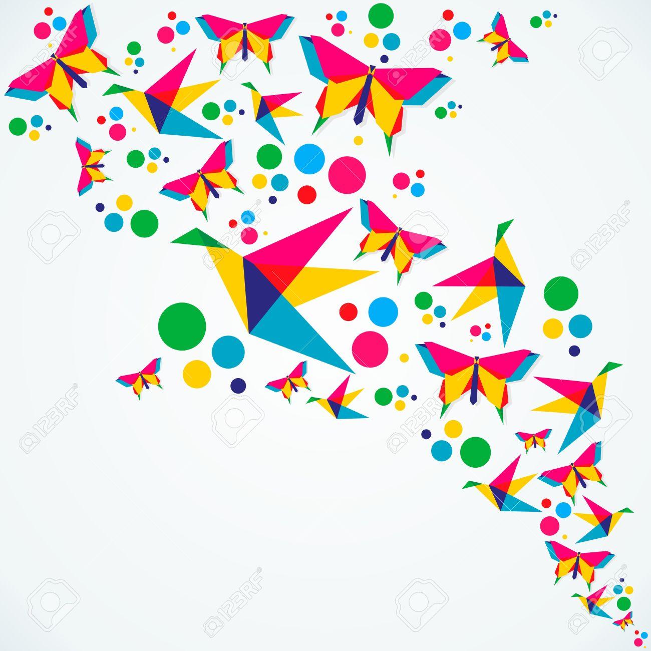 春折り紙蝶と鳥カラフルな組成物ベクトル イラストを簡単に操作および