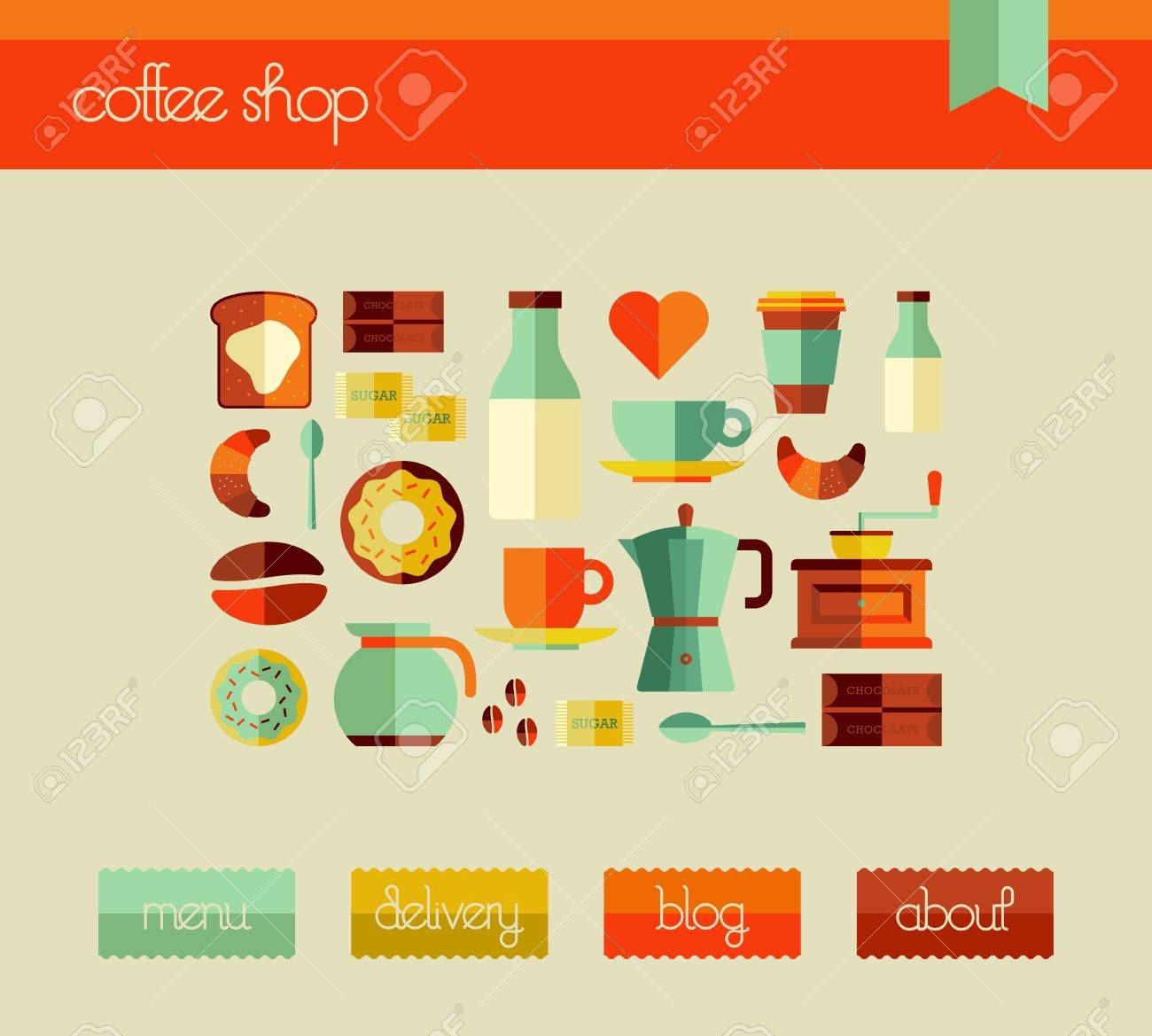 Cafe graphic user interfase for web and mobile devices with icon set. Vector file layered for easy manipulation and custom coloring. Stock Vector - 20602738