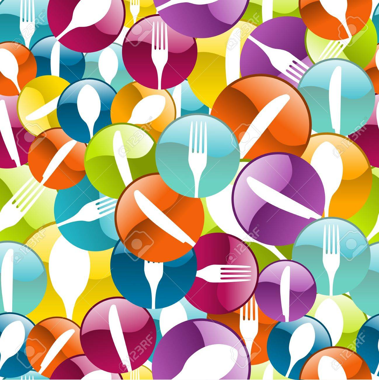 Multicolored cutlery icons pattern background. Vector illustration layered for easy manipulation and custom coloring. Stock Vector - 20602625