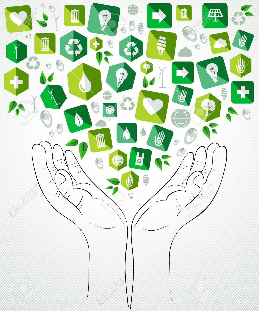 Green icons open hands concept splash. Vector file layered for easy manipulation and custom coloring. Stock Vector - 20608101
