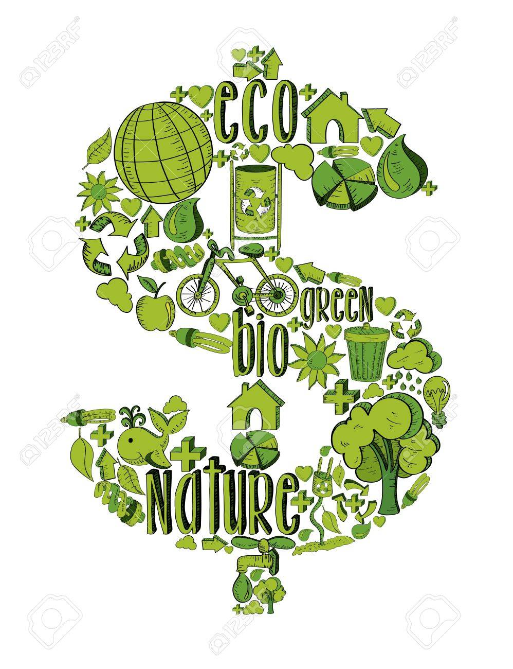 Money symbol with environmental hand drawn icons in green. This illustration is layered for easy manipulation and custom coloring Stock Vector - 20603147