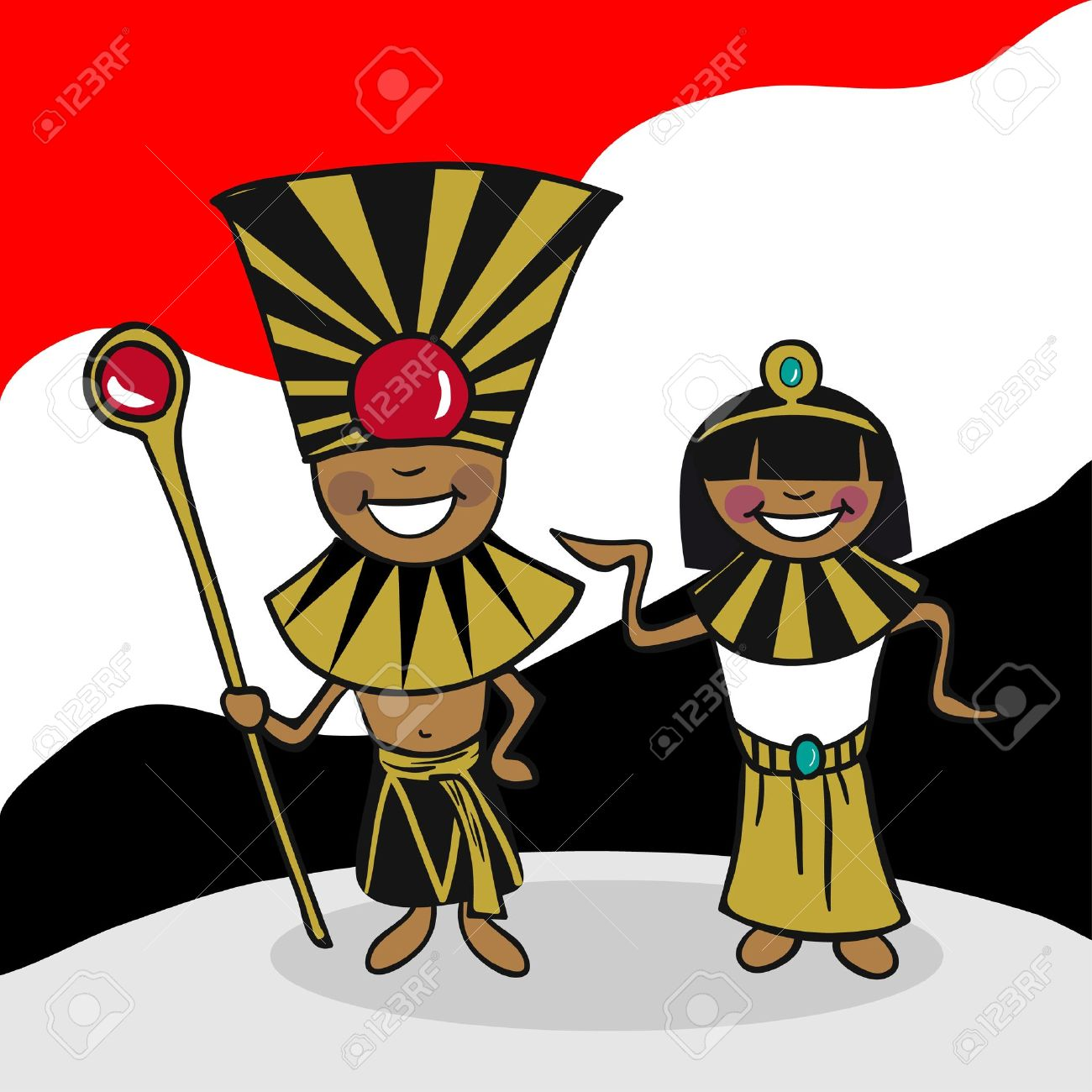 Egyptian man and woman cartoon couple with national flag background. Vector illustration layered for easy editing. Stock Vector - 20602854