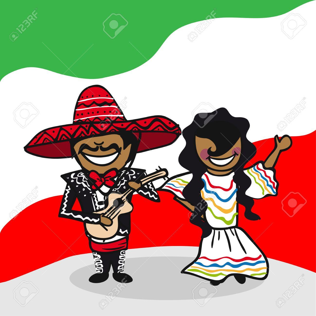メキシコ人男性と女性漫画の国旗の背景が付いているカップルを実行し