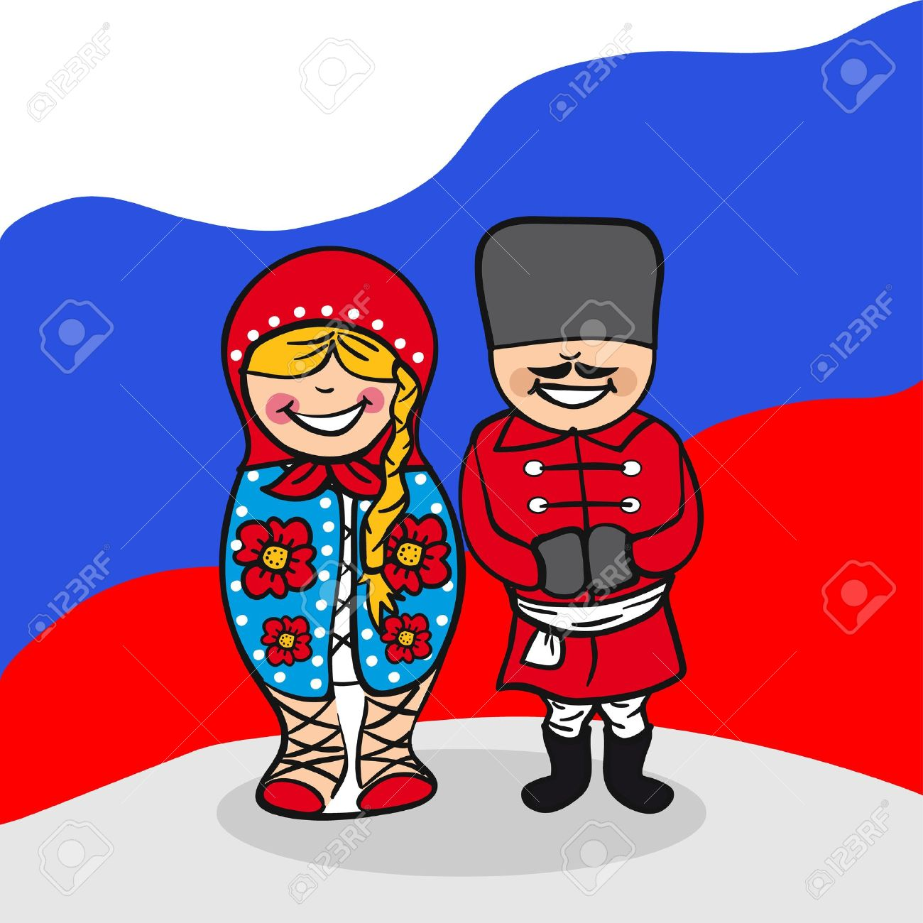 Russian man and woman cartoon couple with national flag background. Vector illustration layered for easy editing. Stock Vector - 20602890